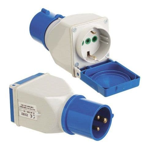 Adaptador Industrial Cetac Schuko Simple 2p Con Tapa